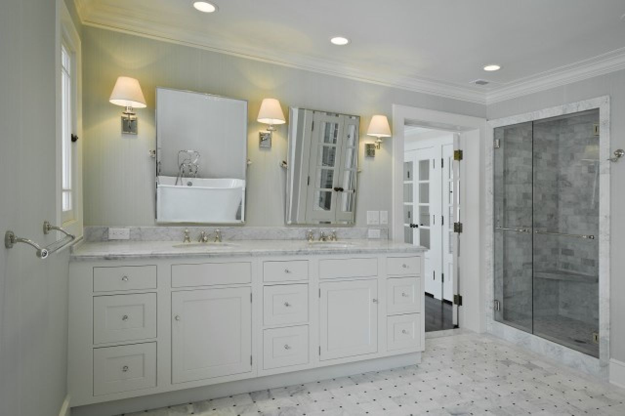 Gray walls marble basketweave tiles floor white double for Bathroom ideas grey vanity