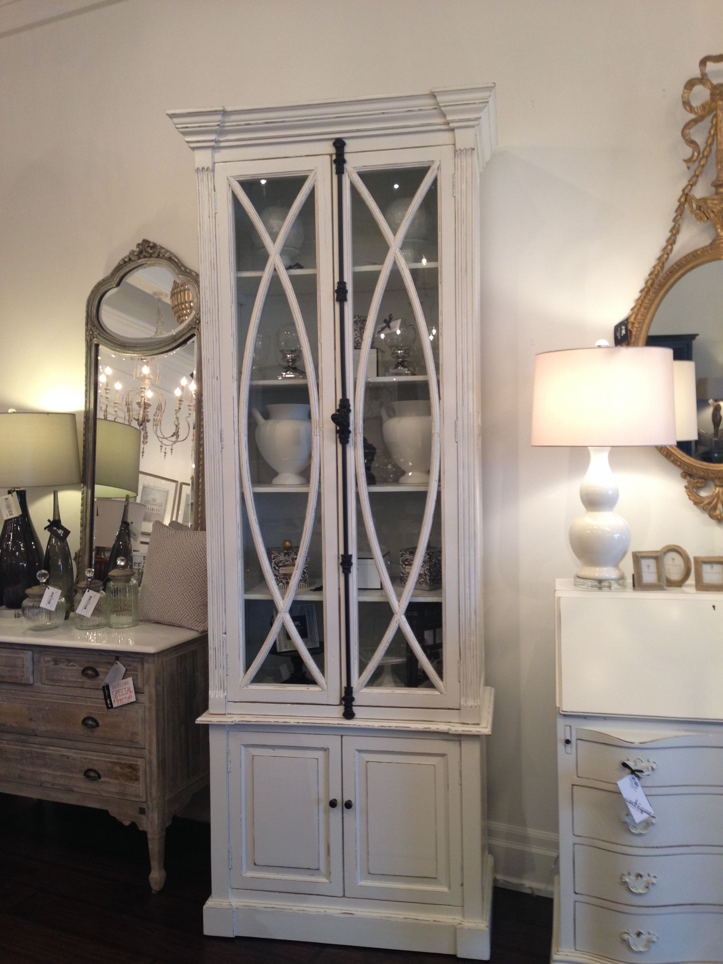 White painted distressed 2 door cabinet with fretwork beautiful