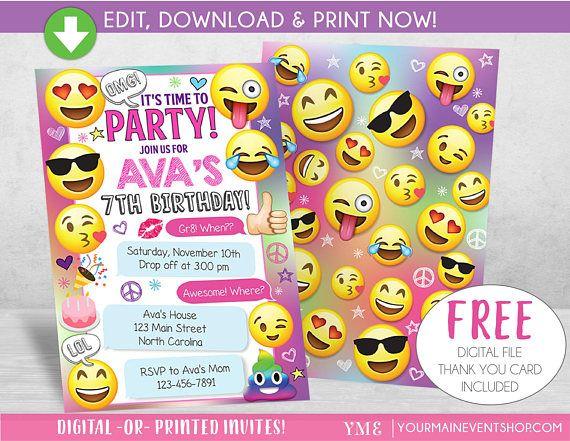 Emoji Party Birthday Invitation Emoji Party Invite Girls Emoji