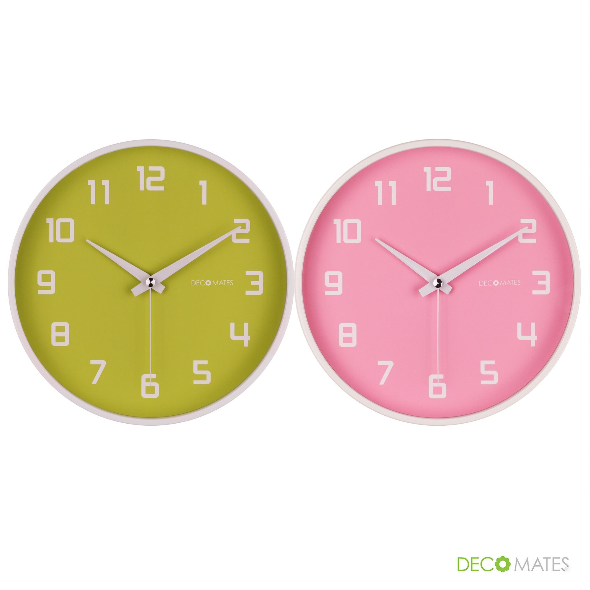 DecoMates Non-Ticking Silent Wall Clock - Fruity #colorful #pink ...