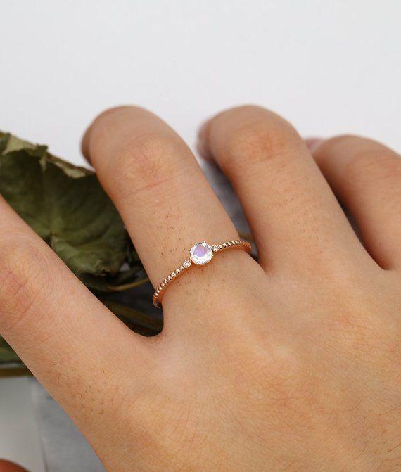 191705c3922 Moonstone engagement ring rose gold women diamond unique wedding milgrain  Dainty Delicate Minimalist