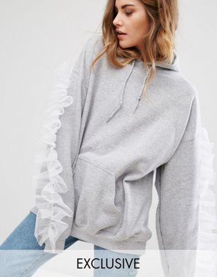 Reclaimed Vintage Oversized Hoodie With Sleeve Ruffle In Mesh Vintage Hoodies Hoodies Sweatshirts Hoodie
