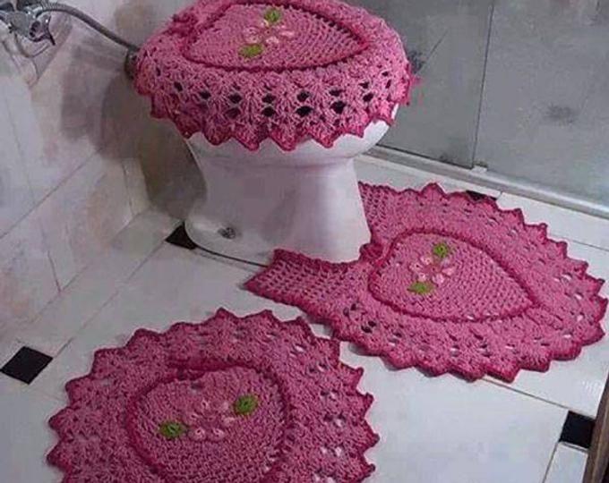Set di 5 pezzi per bagno in lana Tappeto fatto a mano