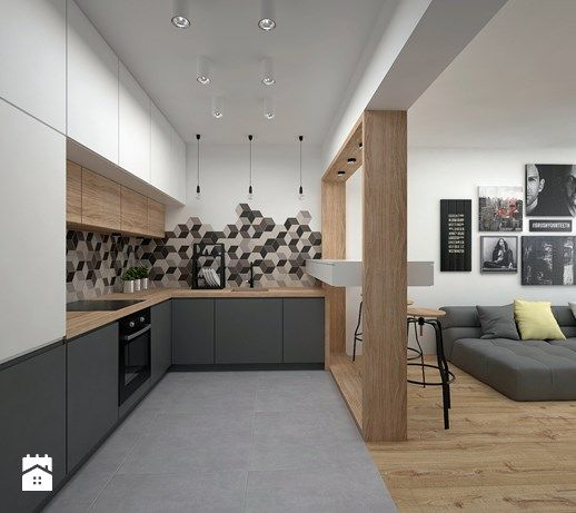 Mieszkanie - 40 m2 - Kuchnia, styl skandynawski - zdjęcie od BIG