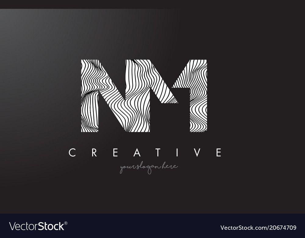 Nm N M Letter Logo With Zebra Lines Texture Vector Image On With Images Letter Logo Texture Vector Lettering