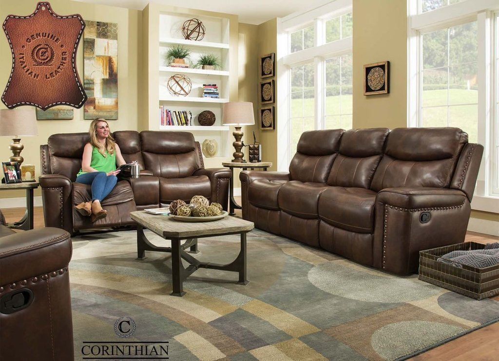 Italian Leather Softie Driftwood Reclining Sofa And Loveseat
