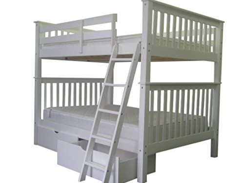 Bedz King Bunk Bed With 2 Under Drawers Full Over Mission Style White