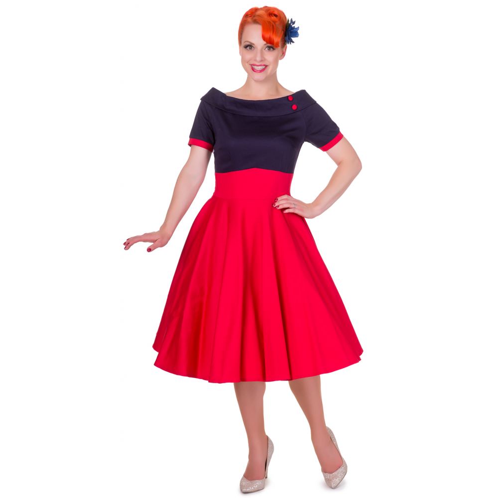 6f91990bd9f Darlene Retro Full Circle Swing Dress in Navy Blue/Red | PinUp ...
