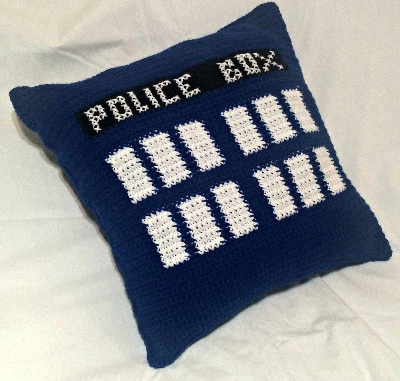 TARDIS Throw Pillow, Doctor Who Pillow, Crochet Pillow, Throw Pillow ...