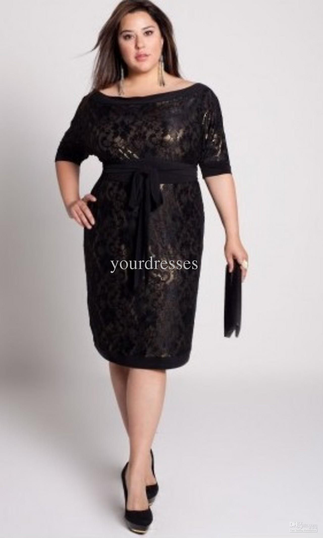 2011new arrival plus size custom made black lace knee-length long