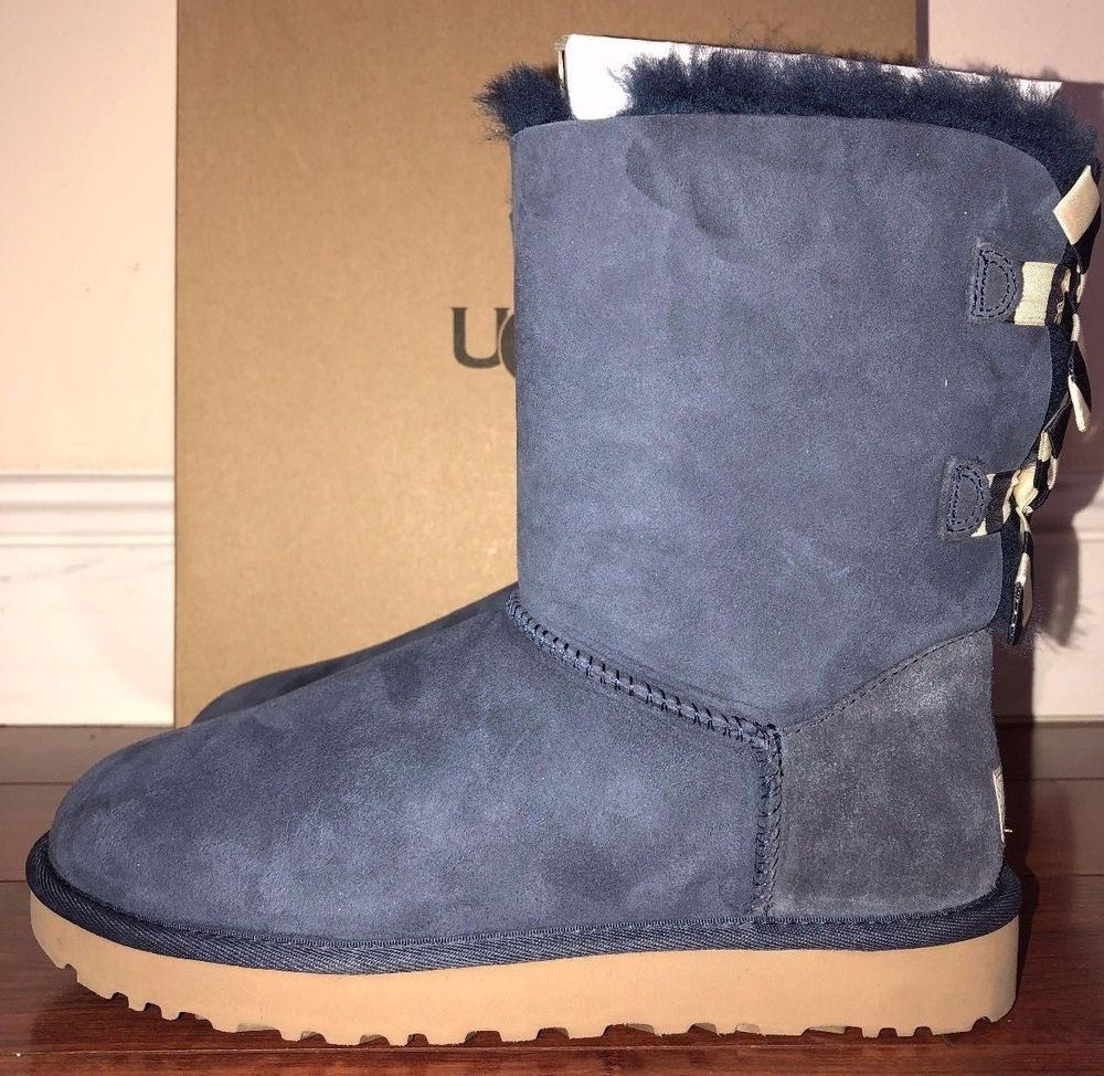 0a866669169 Womens Ugg Australia Navy Blue Bailey Bow Stripe Suede Boots Size 8 ...