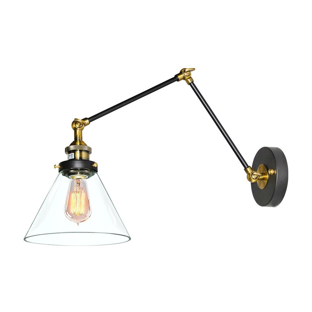 Lnchome Industrial Clear Glass Swing Arm Wall Sconce Reviews Wayfair Swing Arm Wall Sconce Wall Sconce Shade Swing Arm Wall Lamps