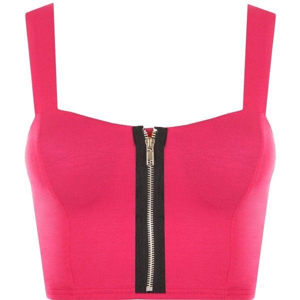 PaperMoon Women's Zip Crop Bralet Top (€2,33) ❤ liked on Polyvore featuring tops, zip top, zipper top, bralet crop top, bralet tops and zip crop top
