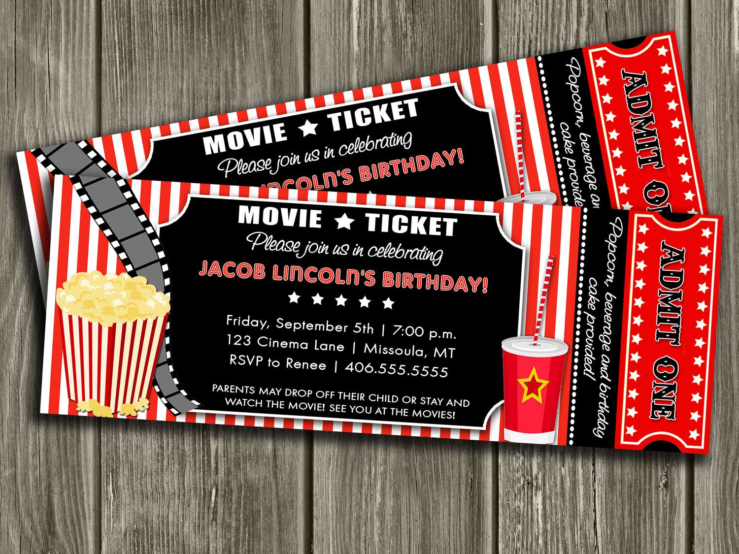 Transformative image with regard to printable movie ticket invitation