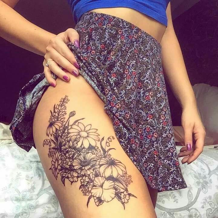 Thigh tattoo - I want the flowers for my 4 boys' birthdays like this... but maybe a little higher up