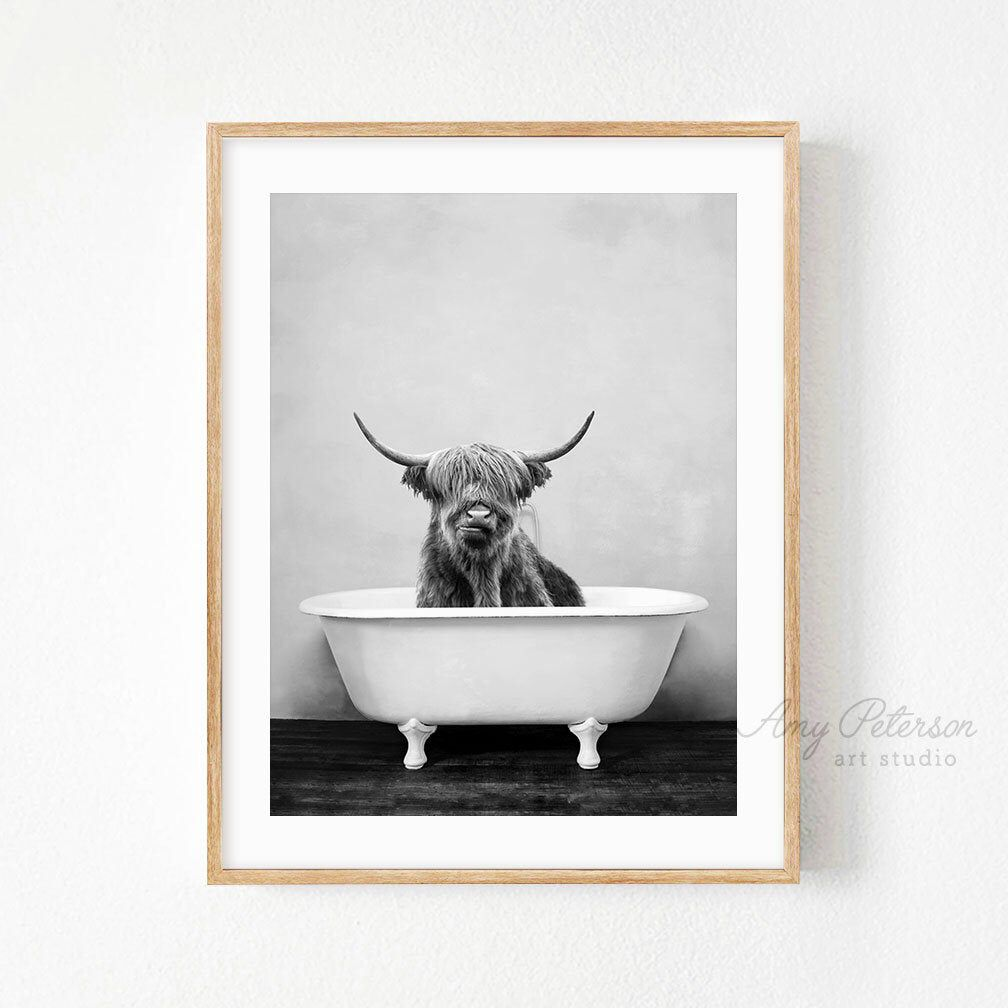 Highland Cow In A Bathtub Black And White Print Taking A Etsy In 2021 Bathroom Artwork Bathroom Art Bathroom Wall Art