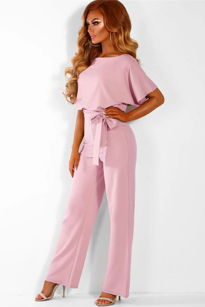be9370e3a084 Short sleeve round neck long jumpsuit-Pink in 2019