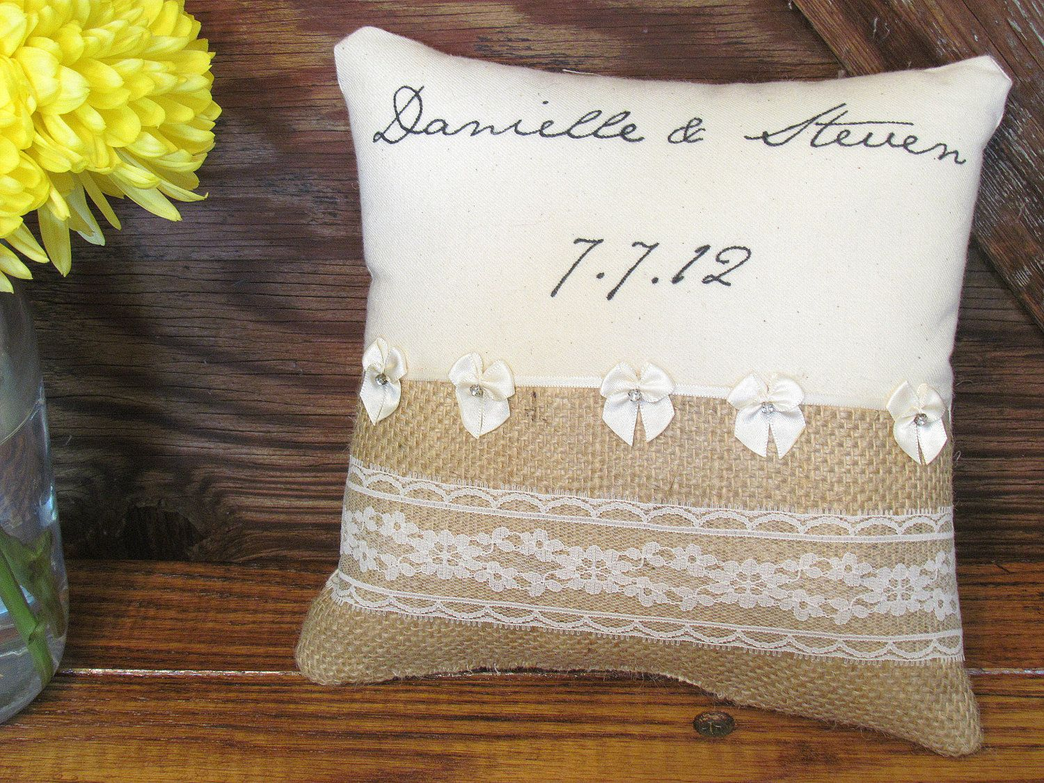 Lace and Bow Trim Customizable Ring Bearer by itsrusticliving
