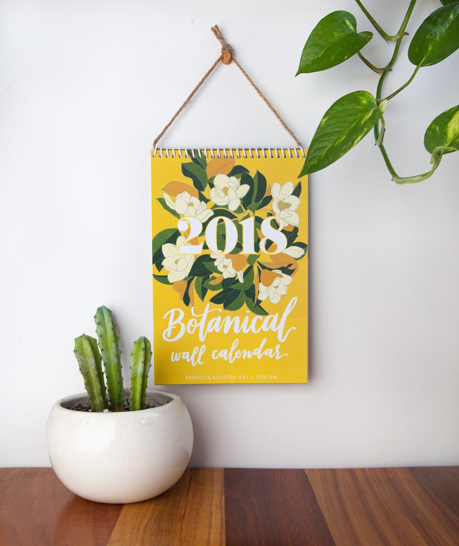2018 Wall Calendar, 2018 Calendar, Botanical, Desk Calendar ...