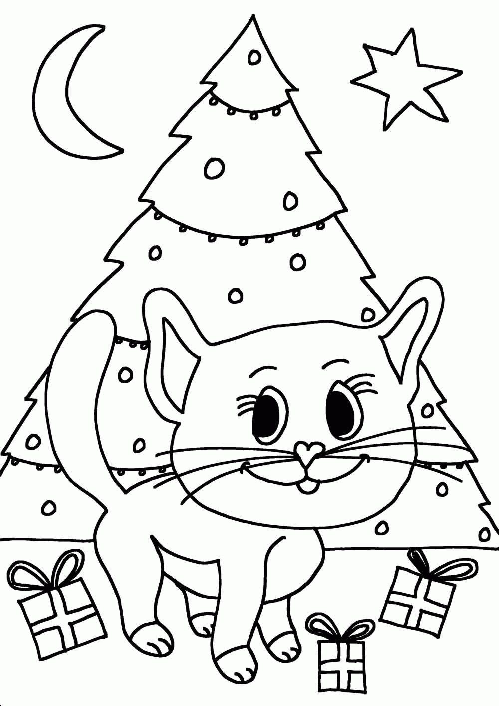 Kleurplaten Kerstman Met Kerstboom.Kleurplaat Poes Kerst Ik Wil Een Poes Nl Idee Kleurplaten Kerstman