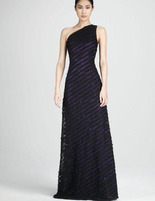 David Meister Evening Gown Dress 12 10 L 46 One Shoulder Black ...