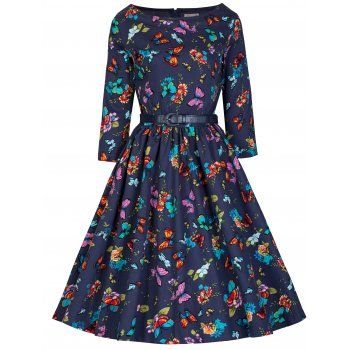 'Holly' 1950's Inspired Blue Butterfly Swing Dress