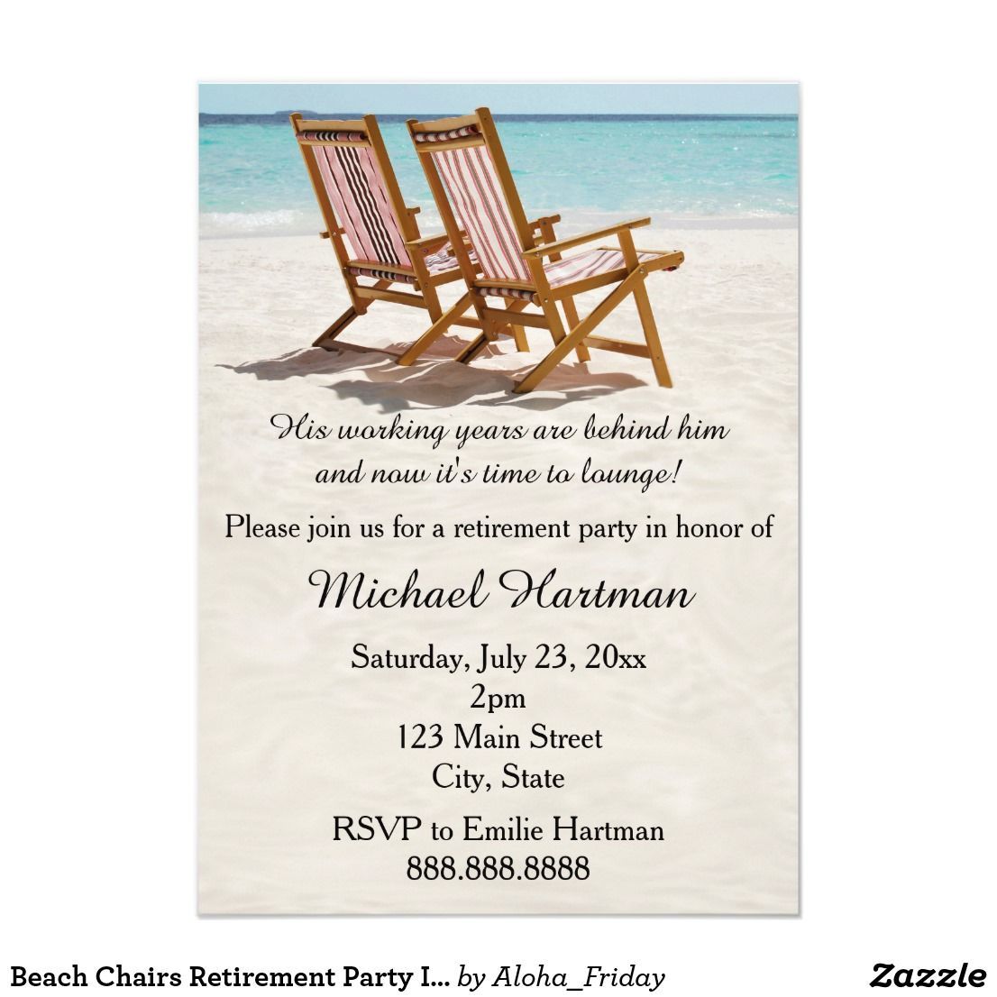 Beach Chairs Retirement Party Invitations   Retirement parties and ...