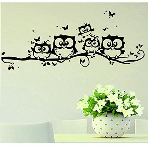 Awesome Familizo Wall Mariposa Buho Vinilo Del Arte De Los Ninos De La Historieta Pegatinas De Decoracion Pared Vinilo Pegatinas De Pared Etiqueta De La Pared