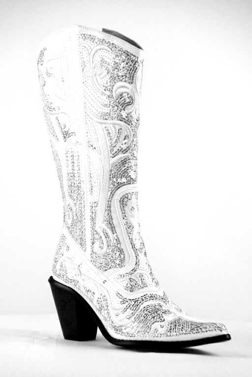 Love This Idea For Wedding Shoes Helens Heart Bling Cowboy Boots In White You May Order These At Our Bridal Salon Thats My Dress And Prom Located
