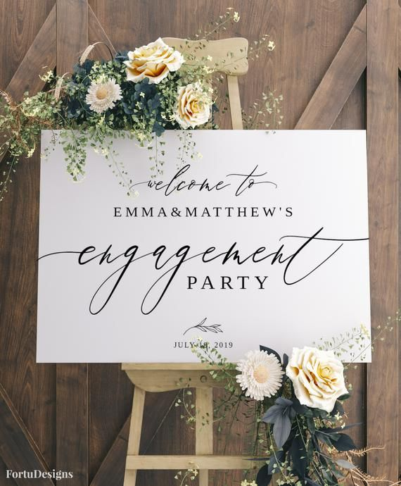 ENGAGEMENT PARTY decorations, Engagement welcome sign, Engagement wedding sign template, Modern enga #engagementpartyideasdecorations