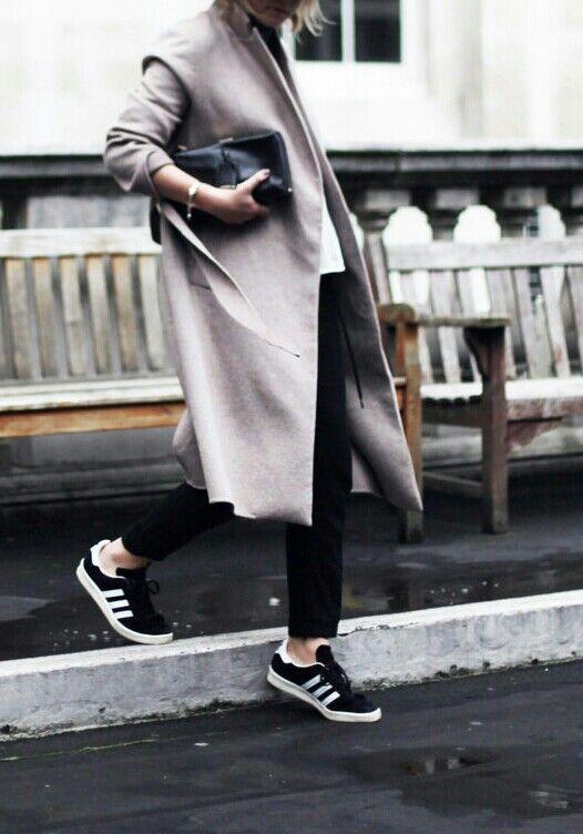 grey coat + white tee + black trousers + black adidas sneakers