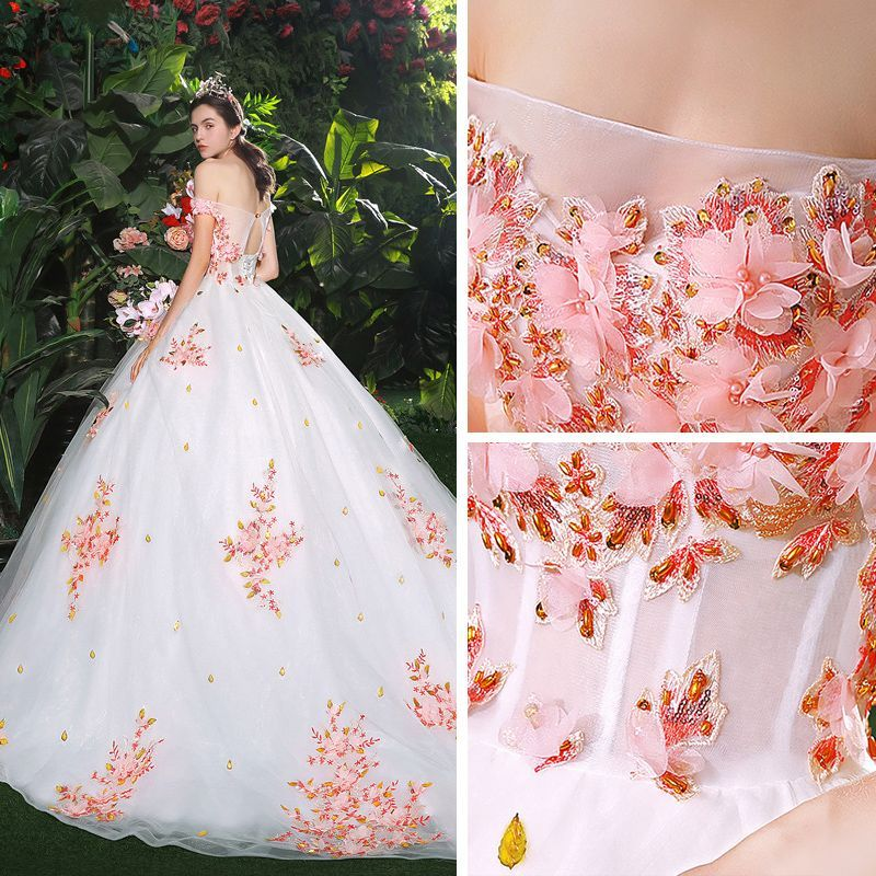 942a1fce8b680 Chic / Beautiful White Wedding Dresses 2018 Ball Gown Appliques Pearl Pink  Flower Crystal Pearl Sequins Off-The-Shoulder Backless Sleeveless Cathedral  Train ...