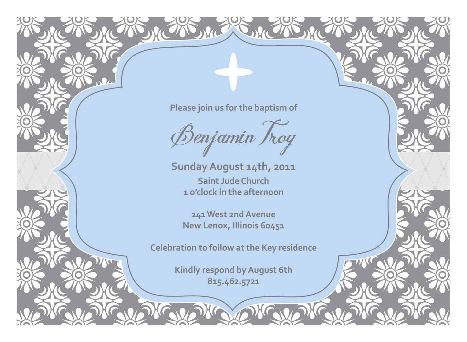 Baptism Invitation Template   New Invitation Cards