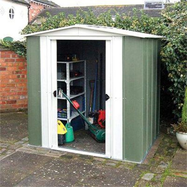 garden ideas the rowlinson metal apex 8 x 6 metal shed