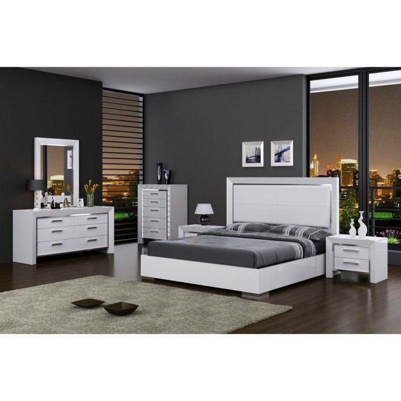 Best Ibiza Modern Bed Whiteline In White Or Walnut Bedroom 640 x 480