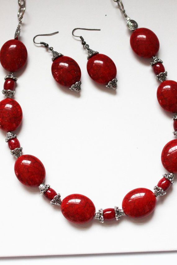 Photo of Red Stone Jewelry Set ~ Earring and Necklace