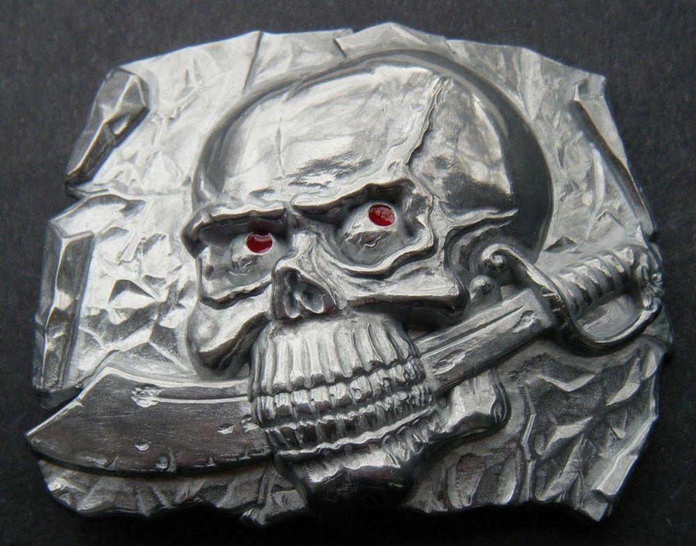 Pirate Flag Skull Silver Metal Belt Buckle