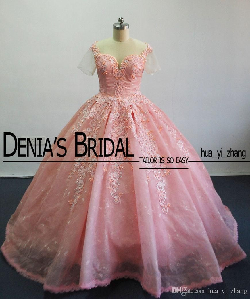 Luxury Ball Gown Wedding Dresses Enrique Gil Jacy Kay Real Images Appliques Beaded Sheer Short Sleeves Bridal Gowns with Cathedral Train