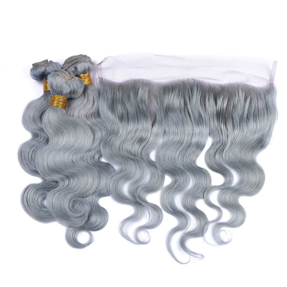 Tony Beauty Hair Sliver Grey Hair Bundles With Lace Frontal Closure With Baby Hair Body Wave Hair Weft With 13x4 Body Wave Hair Grey Hair Bundles Hair Bundles