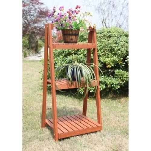 Wooden Plant Stand Yard Shelf 3 Tier Garden Pot Holder Patio Plants Ornament