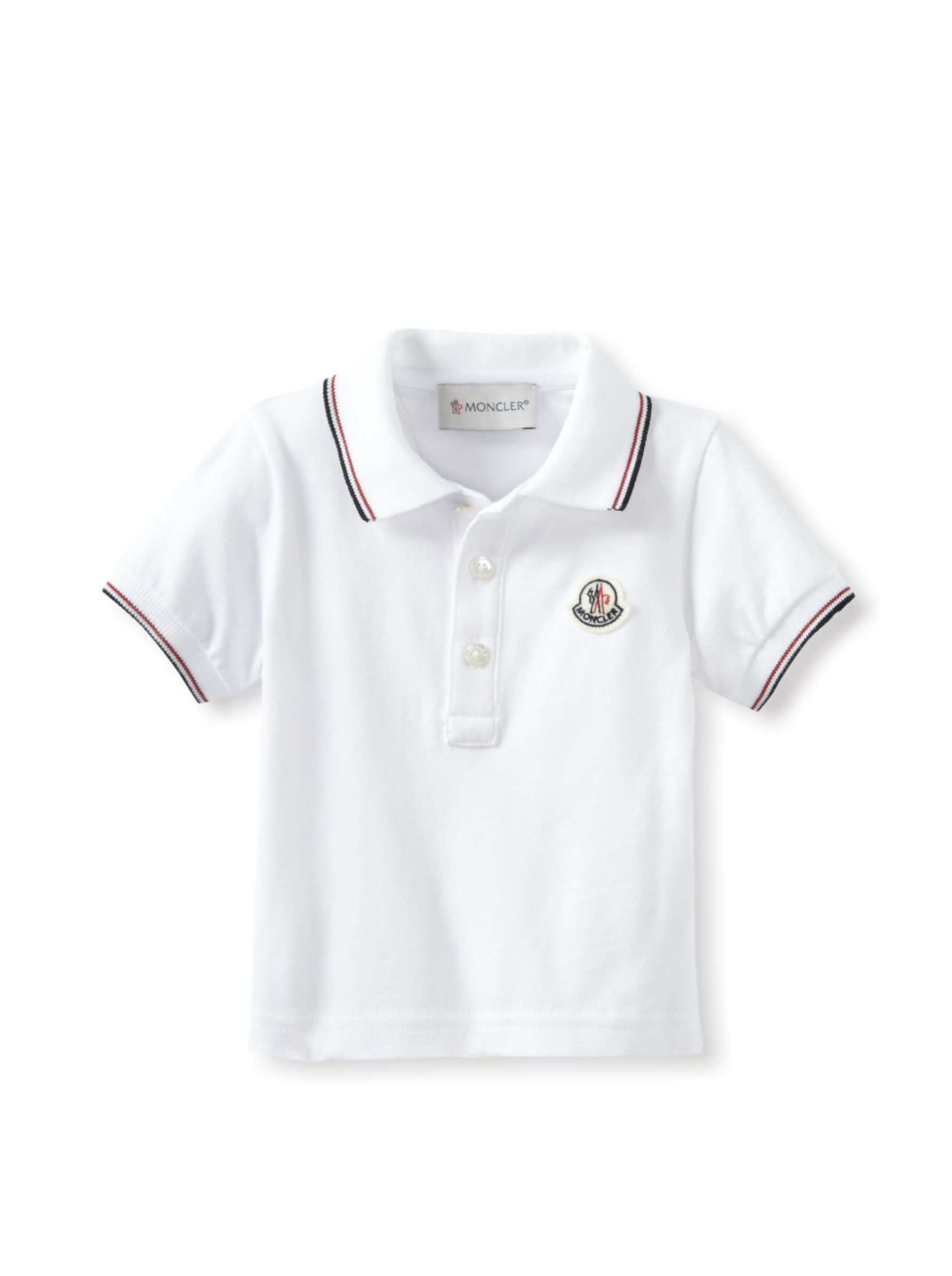 9bfe3d72 Moncler Kid's Classic Polo (White) Lightweight pique knit, polo-style  collar, button closure, striped ribbed knit trim #Polo # #