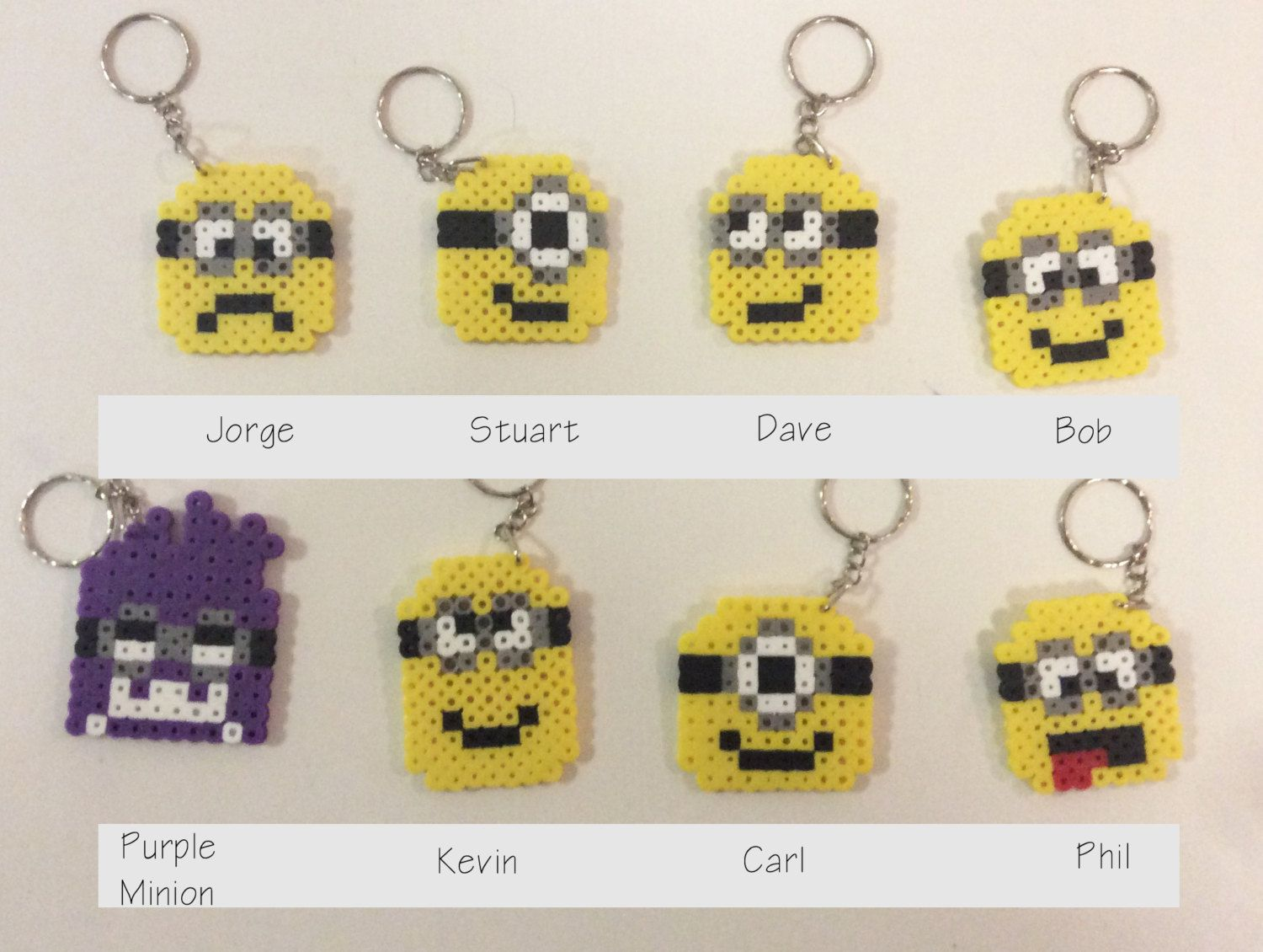 Despicable Me Inspired Keychains perler beads by NinjaMonkeys ...