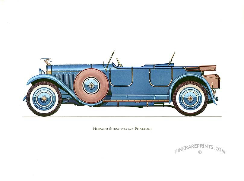 Antique print: picture of Hispano Suiza 1926 (6 B Phaeton) - France. Introduced at the 1919 Paris Motor Show, this gorgeous car was made until 1933.