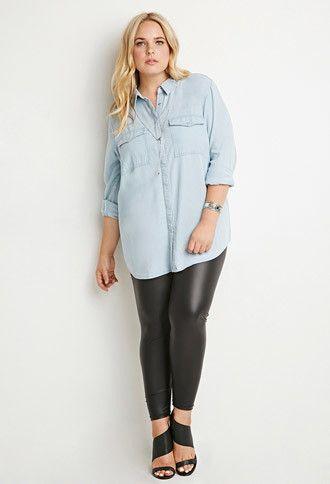 f253ee33 Plus Size Classic Chambray Shirt | Plus Size Fashion | Shirts ...
