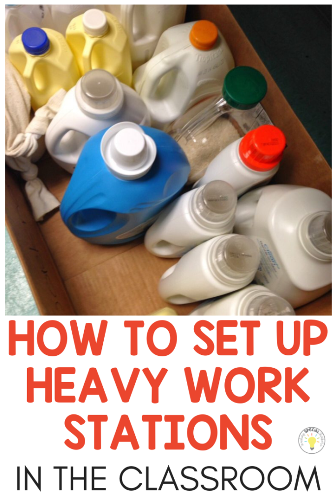Heavy Work WHAT it is and WHY Your Students Need It is part of Special education classroom, Asd classroom, Sensory classroom, High school special education, Teaching life skills, Functional life skills - How to set up calm down heavy work stations in the selfcontained special education classroom to help kids with sensory, autism, or behavior issues with items you already have