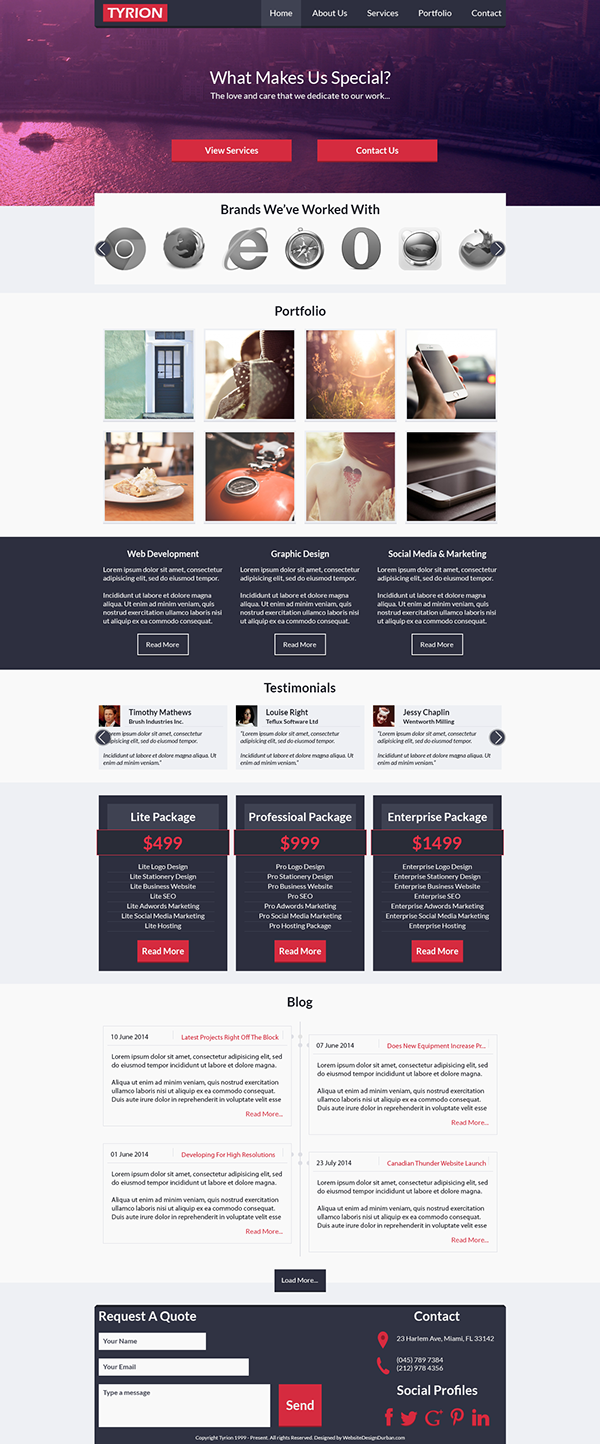 Tyrion Free Website Template Design Psd By Website Design Durban Via Behance Website Template Design Website Template Template Design