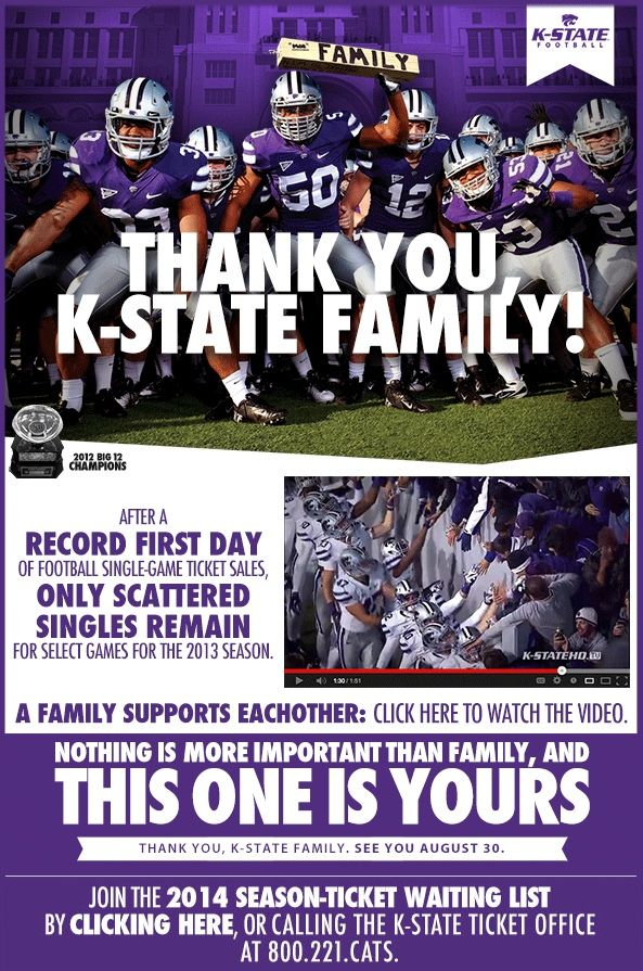 Kansas State - great thank you email with video and offer for - thank you email