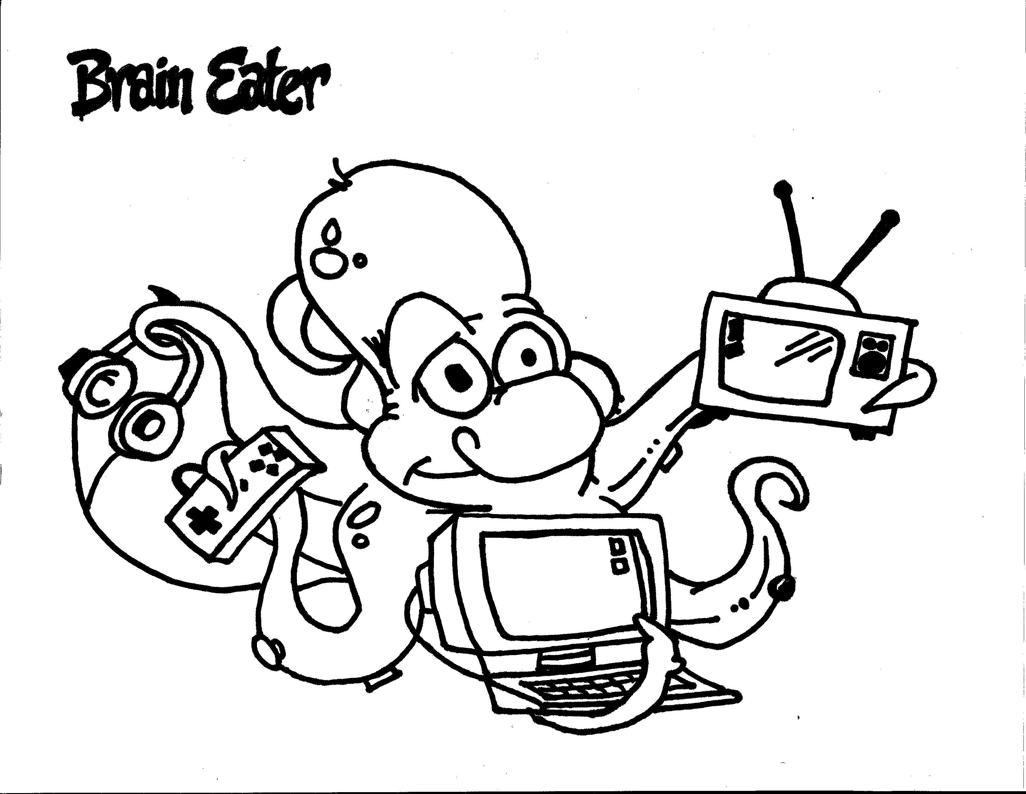 Brain Eater Coloring Page Team Unthinkables Superflex