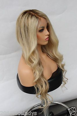 7a European Remy Human Hair Wig Wavy Ombre Blonde Full Lace Wig Lace Front Wig Frontal Hairstyles Human Hair Wigs Blonde Wig Hairstyles