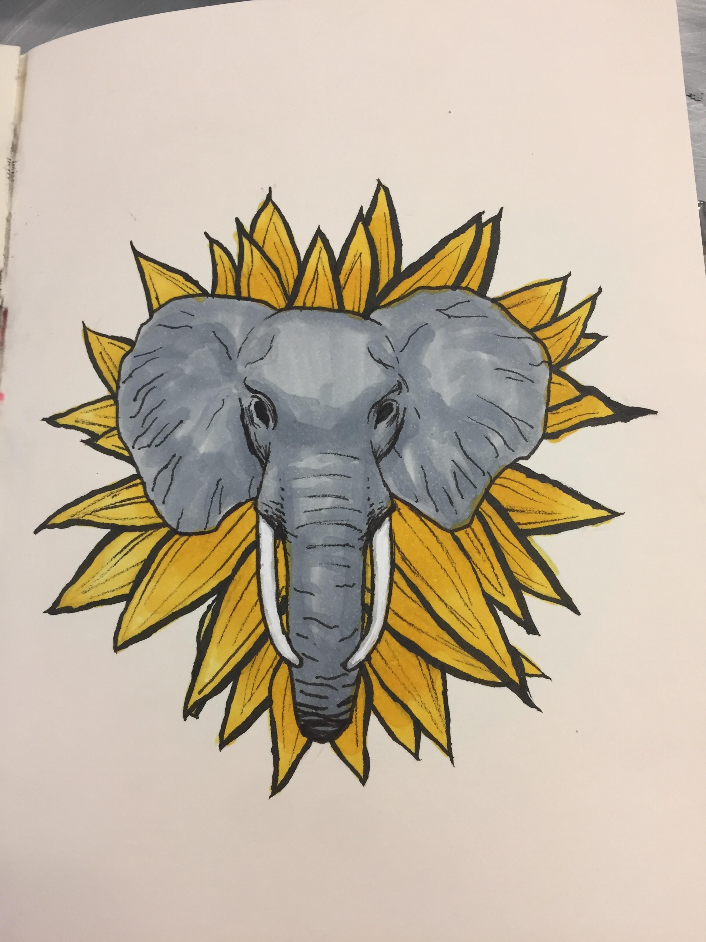 Elephant Sunflower Copic Markers And Ink 3x3